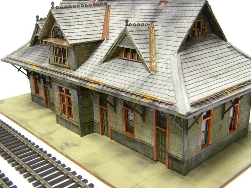 Train Model View with wood decoration and no dummy peoples and Car