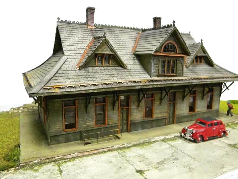 Front Train Station Model view with dummy Red car