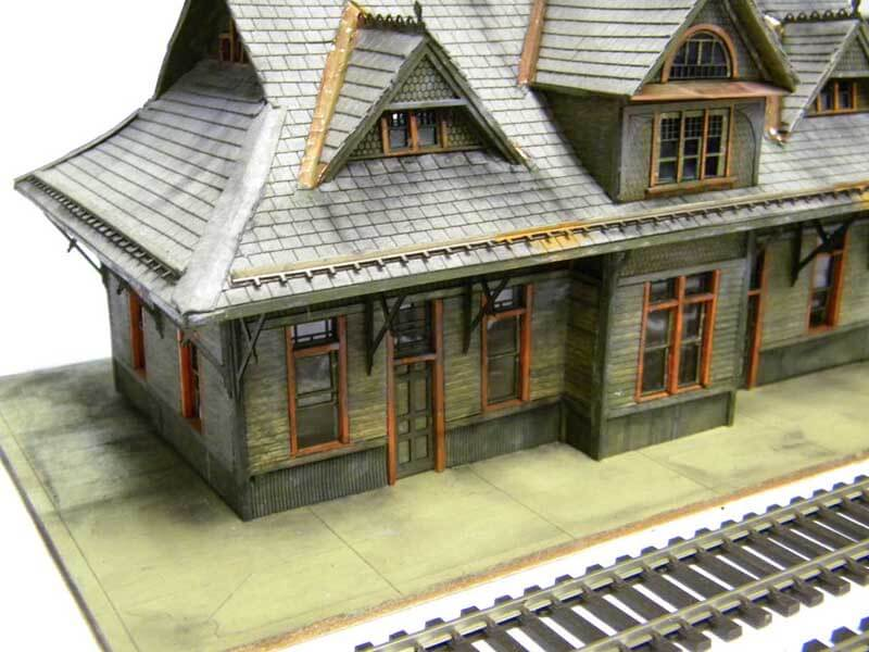 Close Top Train Station Model view with no dummy peoples and cars